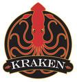 kraken or giant squid badge logo or emblem design vector image
