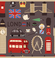 London travel icons english set city flag europe