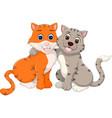 loving cat couple cartoon embace with sitting vector image