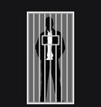 man silhouette in jail vector image vector image