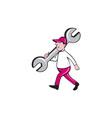 Mechanic Monkey Wrench Walking Cartoon vector image vector image