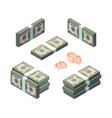 money isometric cash gold coins and dollars vector image vector image