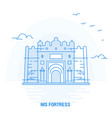 nis fortress blue landmark creative background vector image