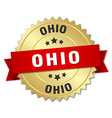 Ohio round golden badge with red ribbon vector image vector image