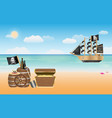 pirate treasure with pirate ship scene at beach vector image