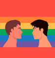 portrait cute two young men gay couple look at vector image