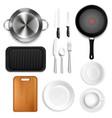 realistic kitchen utensils set vector image vector image