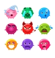 Round Characters Of Different Colors Emoji Set vector image vector image