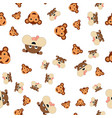 seamless pattern of monkey head and dogs vector image vector image
