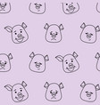 seamless pattern pig head with different emotions vector image