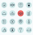 set of 16 eating icons includes dining room vector image vector image