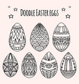 set of festive doodle eggs with boho pattern vector image vector image