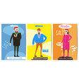 set of winter sale cards with the characters of vector image vector image