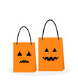shopping paper bag handle set pumpkin sad smile vector image