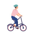 smiling man in helmet riding portable bike happy vector image