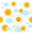 sun seamless pattern baby print with weathers vector image
