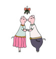 two pigs kissing under the mistletoe vector image
