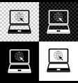 website on laptop screen icon isolated on black vector image vector image