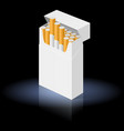 white pack of cigarettes isolated on black vector image vector image
