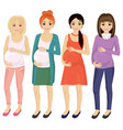 woman pregnant standing in different clothes and vector image