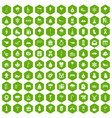 100 winter holidays icons hexagon green vector image vector image