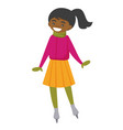 african-american woman skating on ice rink outdoor vector image vector image