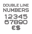 black numbers euro and dollar sign vector image vector image