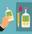 blood glucose test diabetes flat icon set hand vector image vector image
