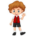 boy wearing red vest vector image vector image