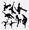 breakdance performance silhouette vector image vector image