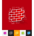 brick paper sticker with hand drawn elements vector image