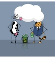 Business deal cat and cow vector image vector image
