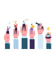 business people in the big hands reaching the goal vector image vector image