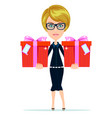 business woman holding a gifts vector image