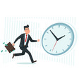 businessman against time busy business worker vector image