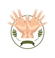circular border olive branch with hands forming a vector image vector image
