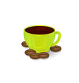 coffee cup green and coffee beans isolate 3d vector image vector image