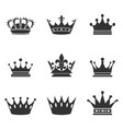 collection of crown silhouettemonarchy authority vector image vector image