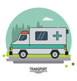 colorful poster of transport with ambulance vector image vector image