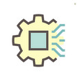 computer chip processor technology and gear shape vector image vector image