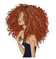 cute curly girl vector image