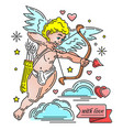 cute playful cupid with bow and arrow vector image