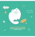 cute smiling kitten with fish vector image vector image