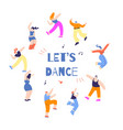 disco people moving round motivate text poster vector image