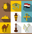 egypt icon set flat style vector image vector image