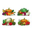 farm vegetables icons cartoon veggies set vector image vector image