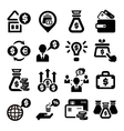 finance and money icons set vector image vector image