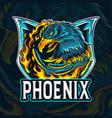 fire eagle phoenix as an e-sport logo vector image vector image
