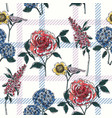 floral seamless pattern with plaid background vector image vector image