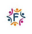 friendship teamwork parenting letter f vector image vector image